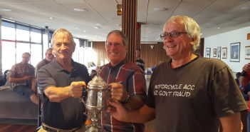 RPNYC President Arthur Stewart presents Maranui with the Maxwell Cup for winning the RPNYC Veterans Race 2016