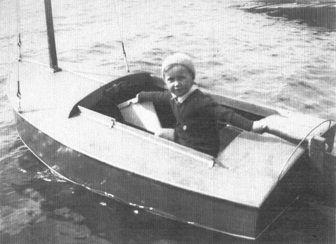 Hal aged four in Betty, his brother Eric's P-Class at Evans Bay