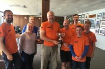 Photograph of Outrageous Crew Recieving Trophy